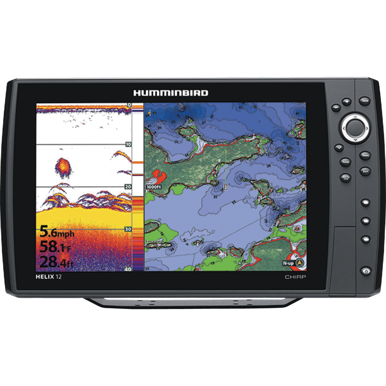 "Humminbird 410000-1 HELIX 12 CHIRP GPS Sonar Fishfinder & Chartplotter with 12.1"" HD Display"