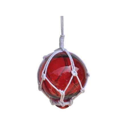 Beach Themed Christmas Ornaments (Red Japanese Glass Ball With White Netting Christmas Ornament 3
