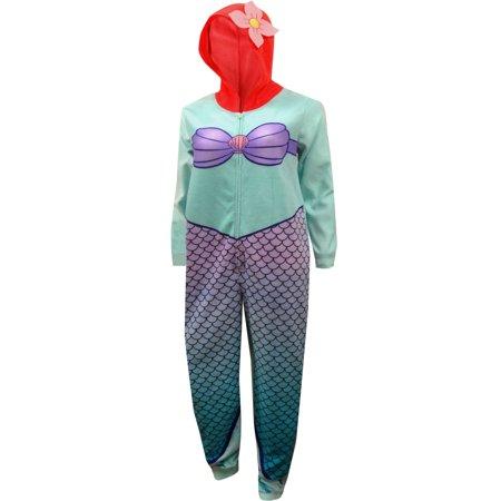 Disney Little Mermaid Princess Ariel One Piece Pajama - Adult Little Mermaid Pajamas