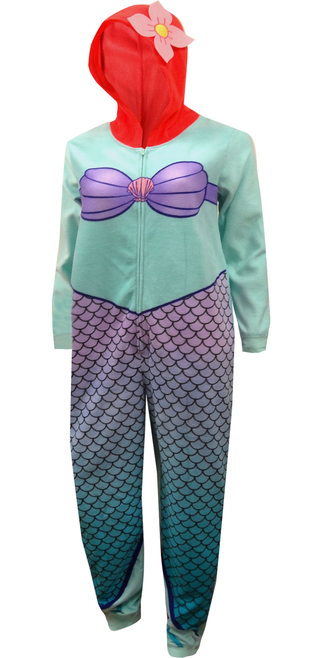 Disney Ariel The Little Mermaid Girls Footed Blanket Sleeper Pajama Size 5T