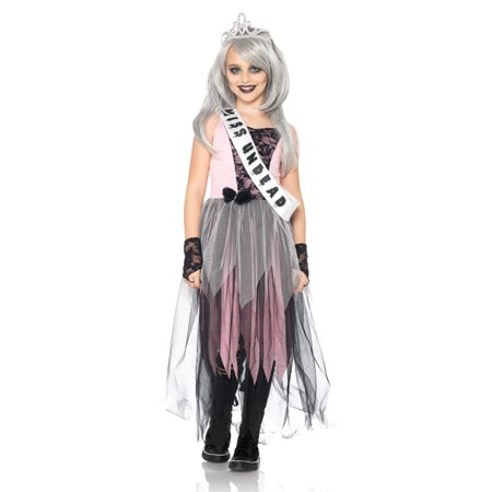 4PC. Girl's Zombie Prom Queen Dress w/ gloves sash & crown - Prom Queen Halloween Costume Uk