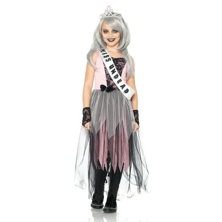 Halloween Prom (4PC. Girl's Zombie Prom Queen Dress w/ gloves sash &)