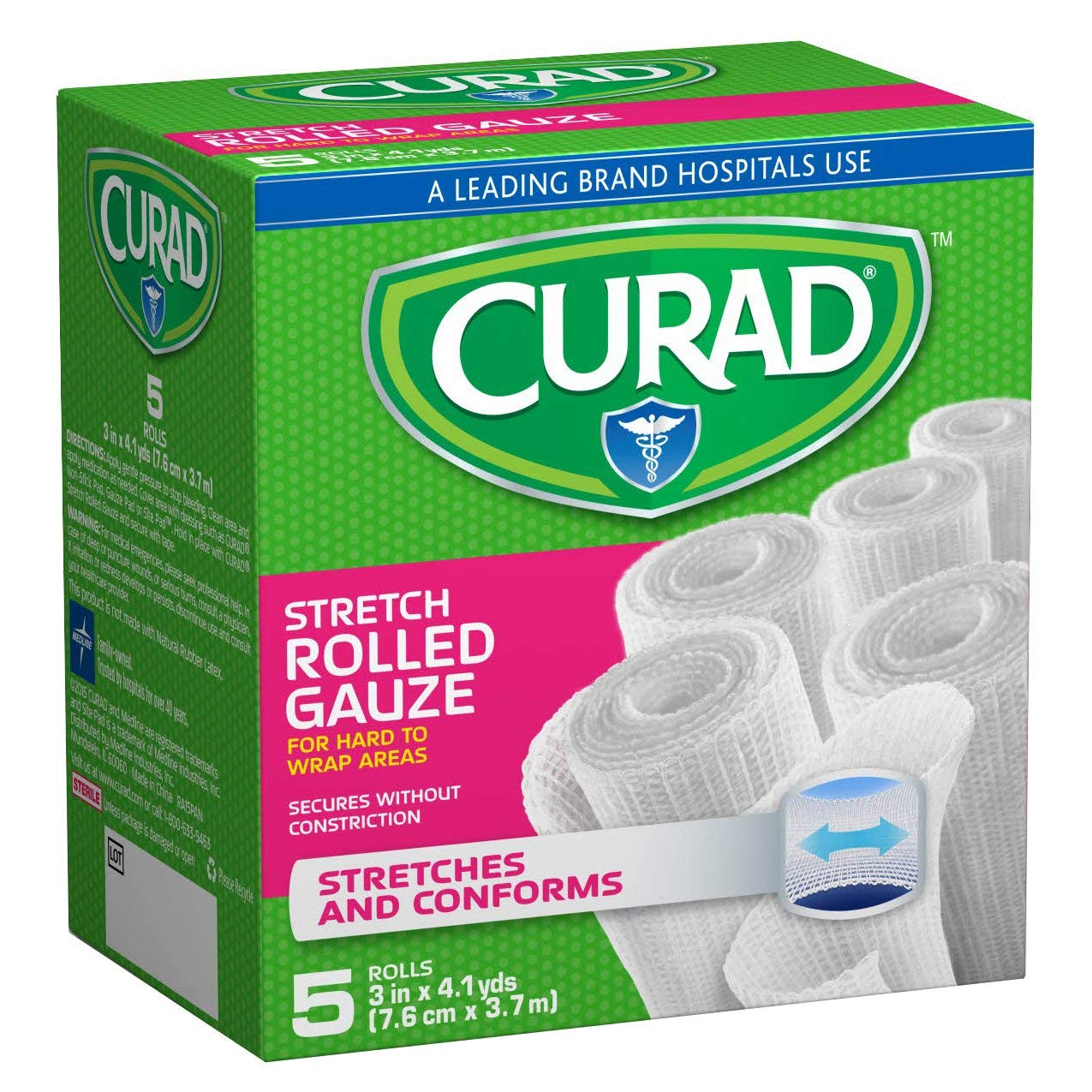 Curad Rolled Gauze 3 Inch x 4.1 Yards, 5 Count (Pack of 6)