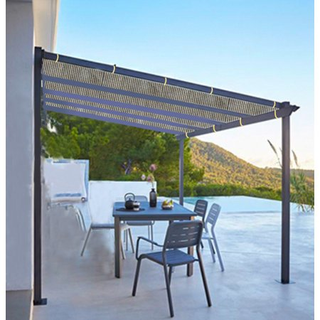 Shatex Outdoor Shade Cloth Reinforce The Edge with Ready-tie Ribbons for Pergola 6x20ft Coffee