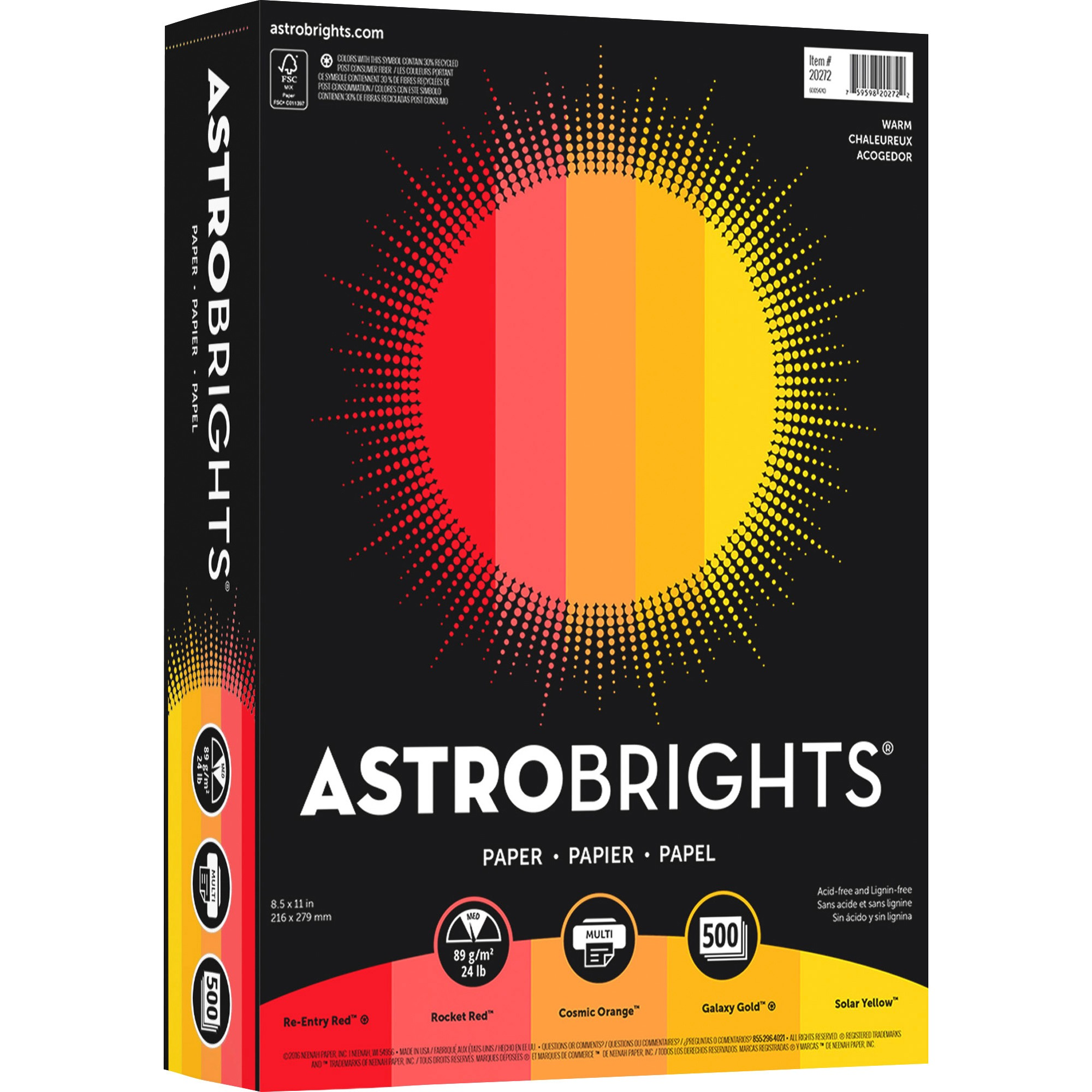 "Astrobrights, WAU20272, Color Paper - ""Warm"" 5-Color Assortment, 500 / Ream, Rocket Red,Re-entry Red,Cosmic Orange,Galaxy Gold,Solar Yellow"