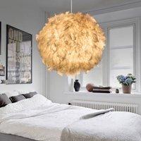 Modern Romantic White Feather Ball Ceiling Chandelier Pendant Light Droplight for Living Room Bedroom