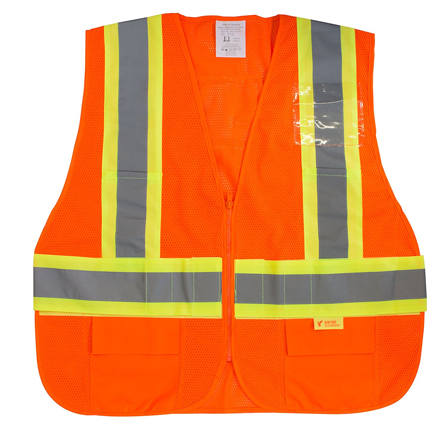 RK Safety Class 2 High Visibility Safety Vest with Reflective Strips and Pockets - Orange