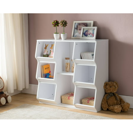Gali White Wood 8 Shelf Contemporary Kids Bookcase Storage Display Cubby Unit](White Cubby Shelf)