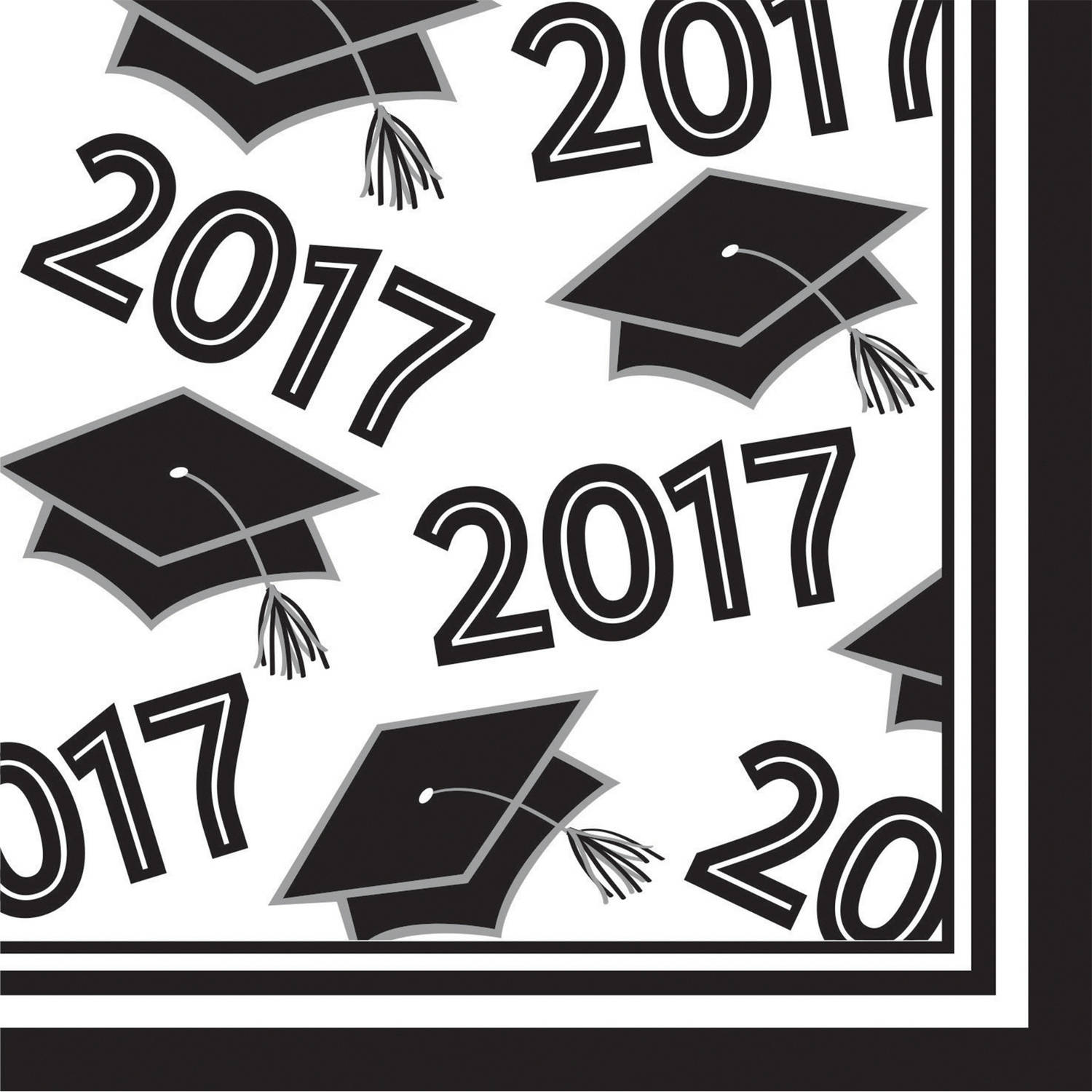 Class of 2017 White Beverage Napkins, 36pk by CREATIVE CONVERTING