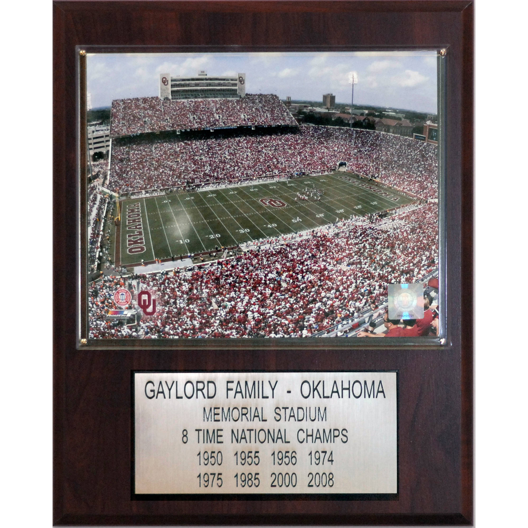 C&I Collectables NCAA Football 12x15 Oklahoma Memorial Stadium Stadium Plaque