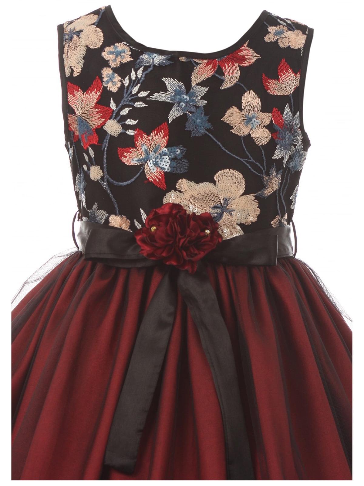 077e12c6ce2 Dreamer P - Little Girls Floral Tulle Christmas Birthday Holiday Party  Flower Girl Dress Burgundy 4 (J21KS48) - Walmart.com