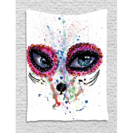 Sugar Skull Decor Tapestry, Spooky Big Eyes Cat Face Girl Portrait Artistic Ceremonial Celebration, Wall Hanging for Bedroom Living Room Dorm Decor, 40W X 60L Inches, Multicolor, by Ambesonne - Sugar Skull Cat