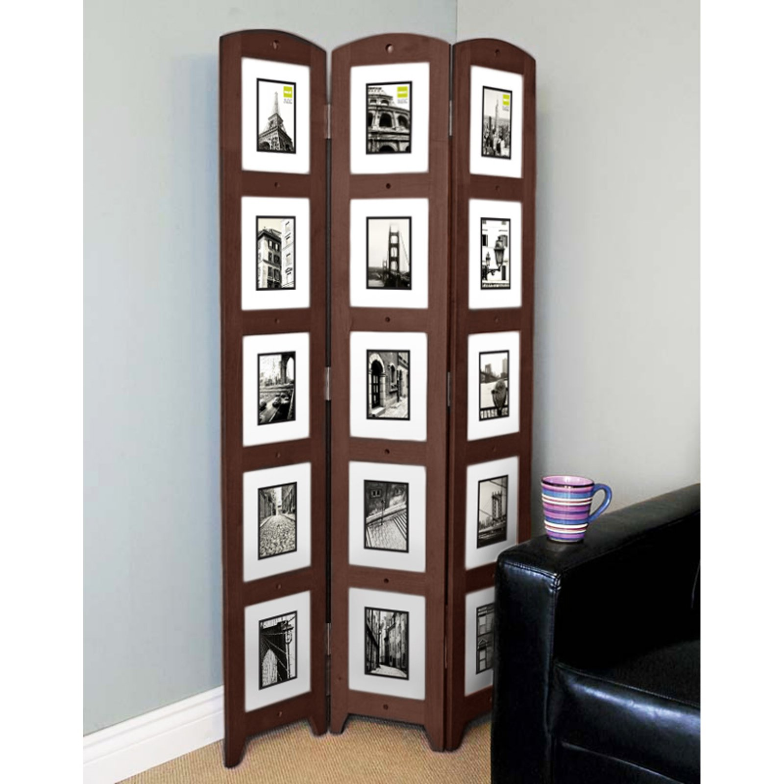 Triple Panel Espresso Photo Screen Room Divider Holds 15 Photos 33