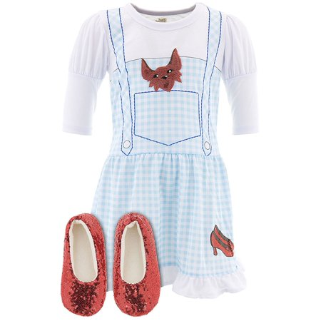The Wizard of Oz Girls Dorothy Costume Pajama Nightgown with Ruby Slippers