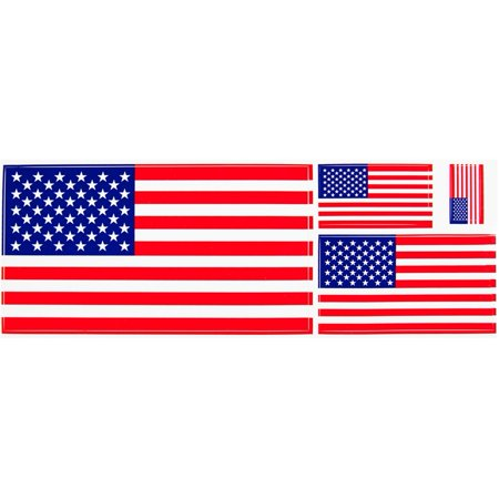 4th of July American Flag Multi-Pack of 4 Assorted Sizes Stickers (Size Of America)