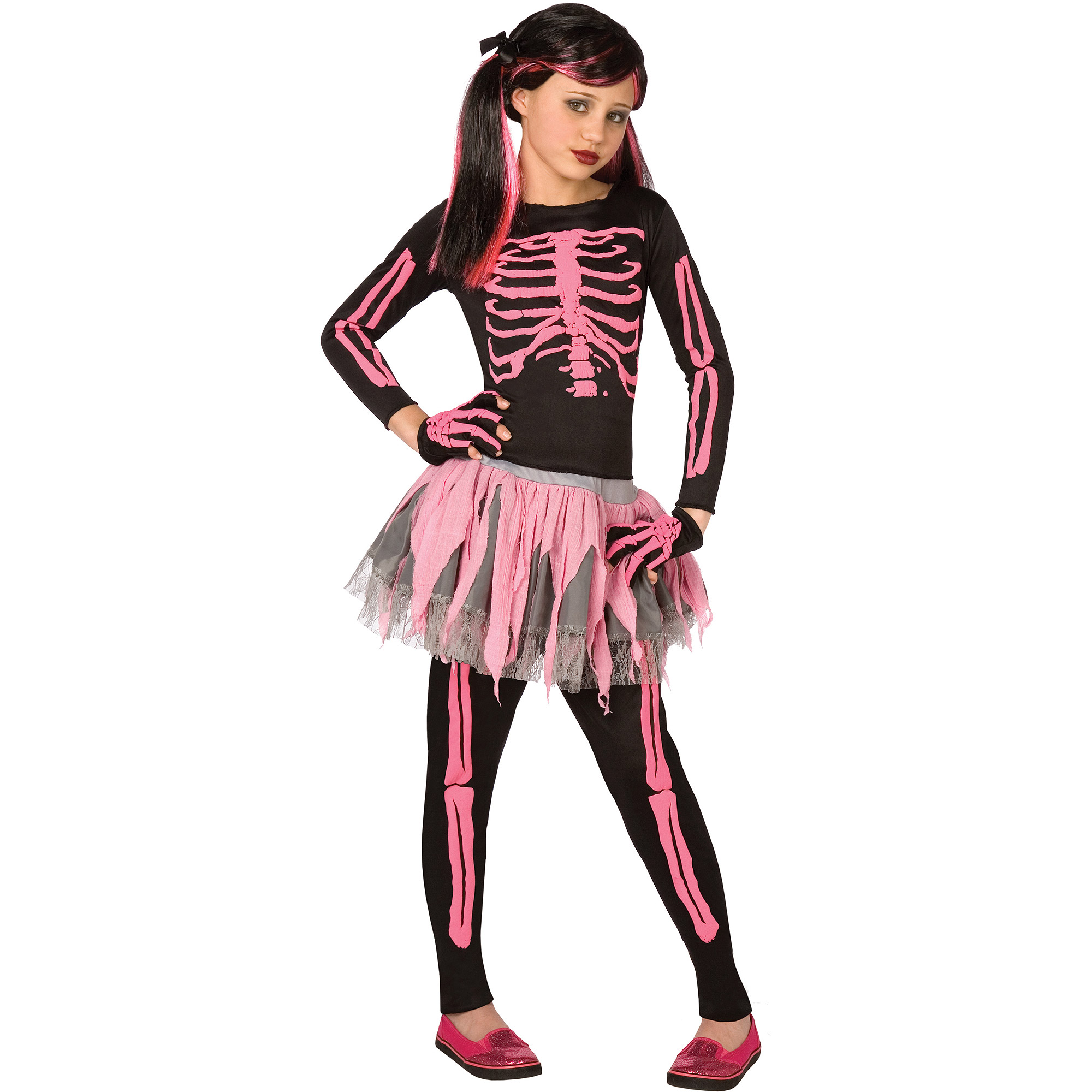 Girl Pink Skeleton Medium Halloween Dress Up / Role Play Costume