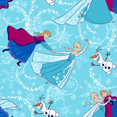 "Frozen Sisters Skate Toss with Glitter 44"" Cotton D/R Fabric, Sisters Ice Skating Toss"