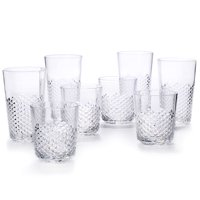 Cupture Diamond Plastic Tumblers, 24 oz   14 oz, 8-Pack (Clear) by Cupture