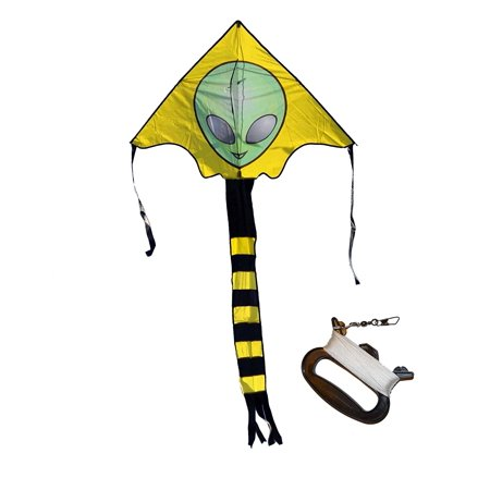 Large Easy Flyer Big Alien Face Kite 7 X 4 Ft with String and Handle, Super Easy to (Best Big Kites)
