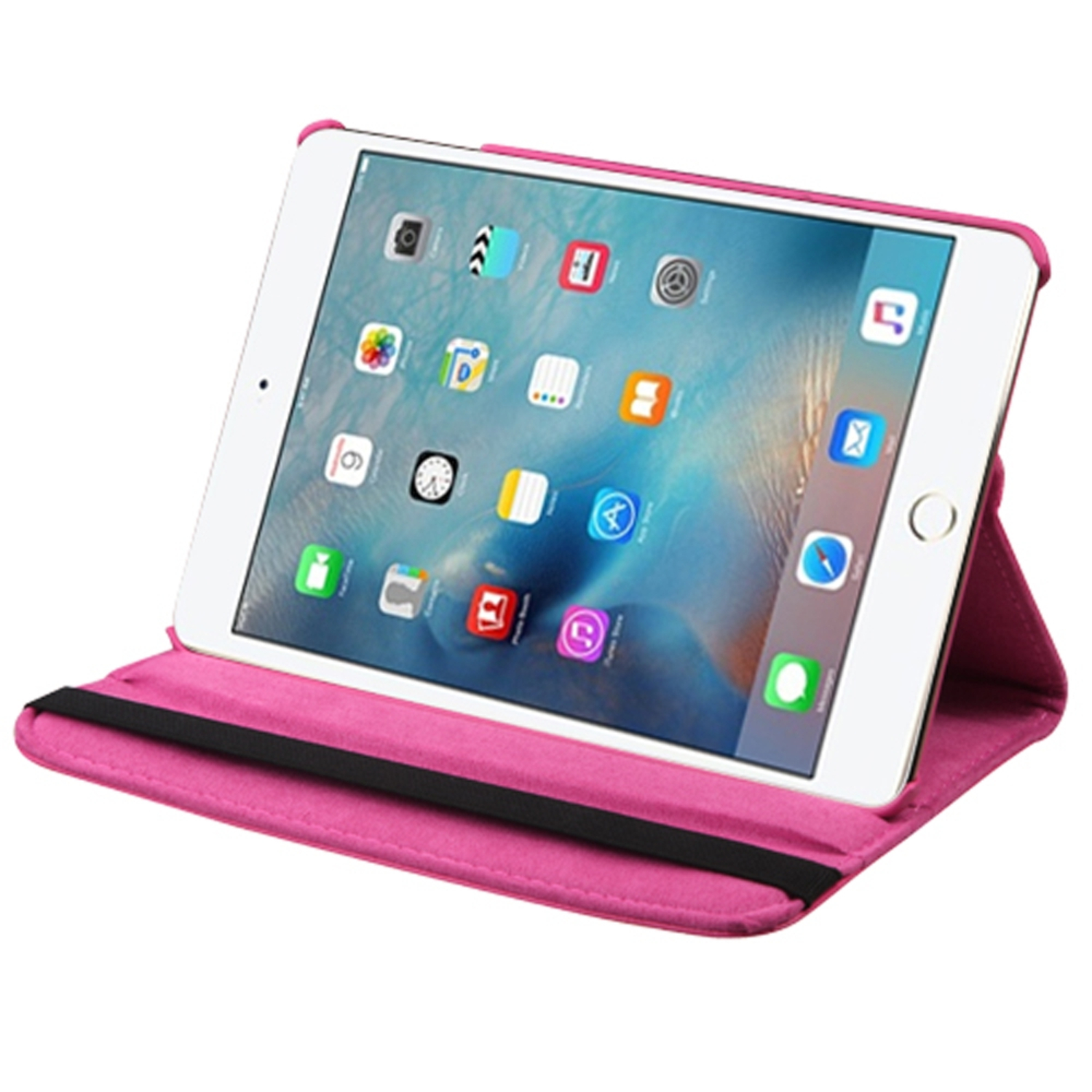 Insten Swivel Flip Leather Fabric Cover Case w/stand For Apple iPad Mini 4 - Pink