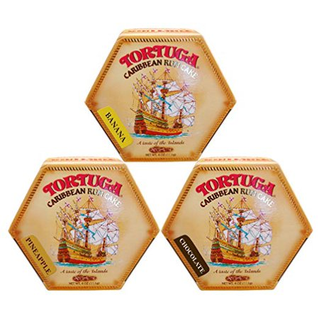 Tortuga Caribbean Rum Cake 4 Oz Mix Banana - Pineapple - Chocolate Flavor  3 PACK FREE (Rum Pineapple Upside Down Cake Guy Fieri)