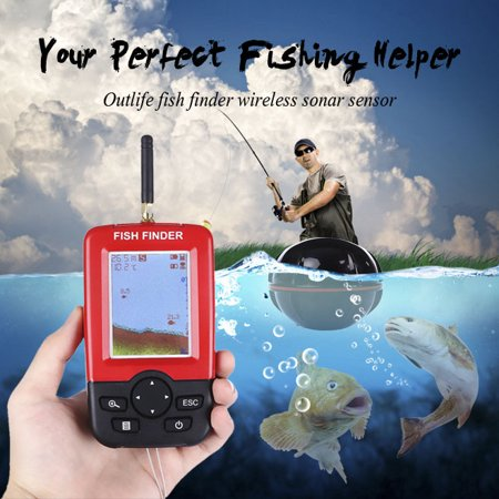 XJ-01 Rechargeable Portable Smart Fish Finder with Wireless Sonar Sensor LCD Display, Red