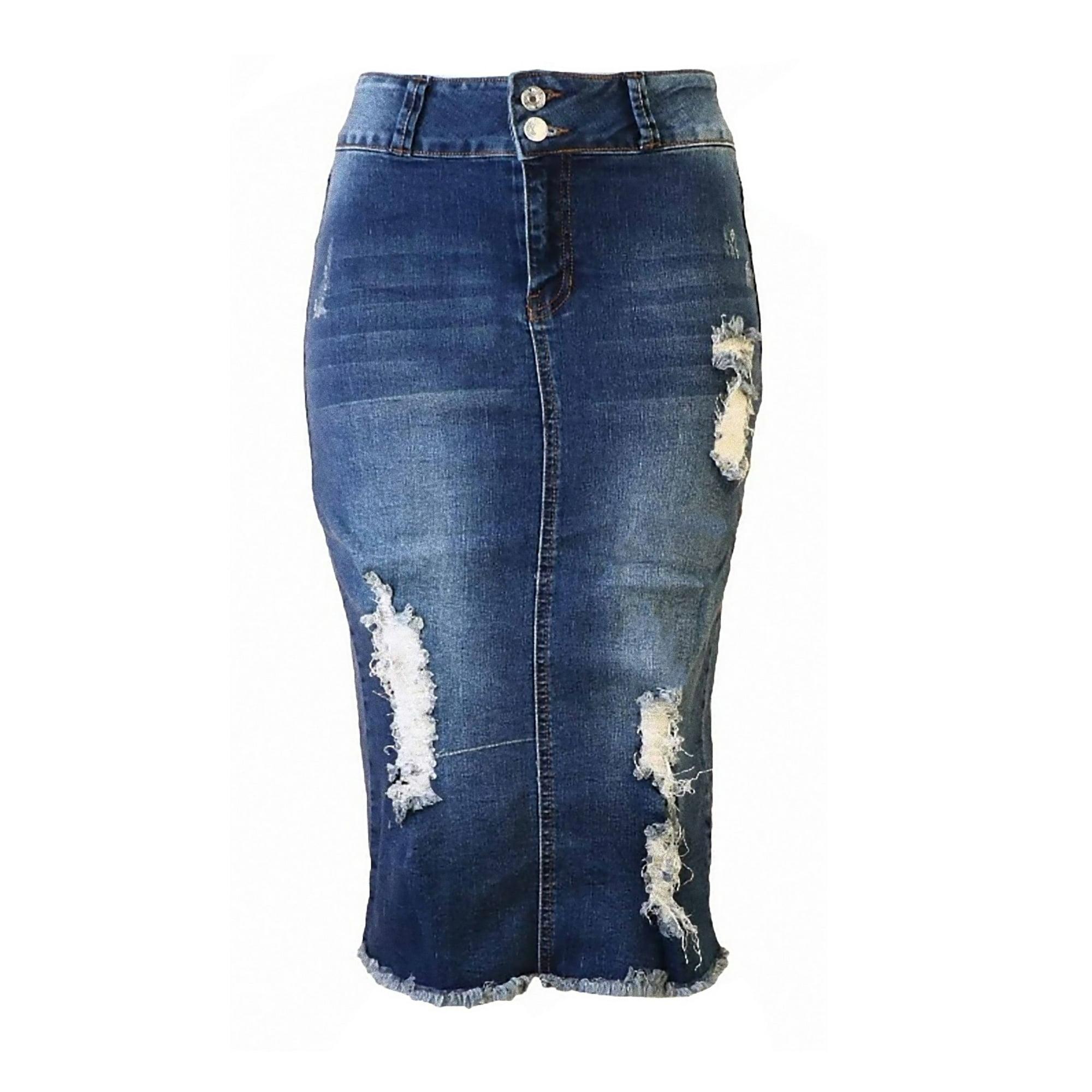 pretty cheap top brands sleek Womens Junior Plus Size Juniors below Knee Length Midi Pencil Ripped Denim  Skirt
