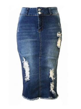 3f8704ef3c Product Image Womens Junior Plus Size Juniors below Knee Length Midi Pencil  Ripped Denim Skirt