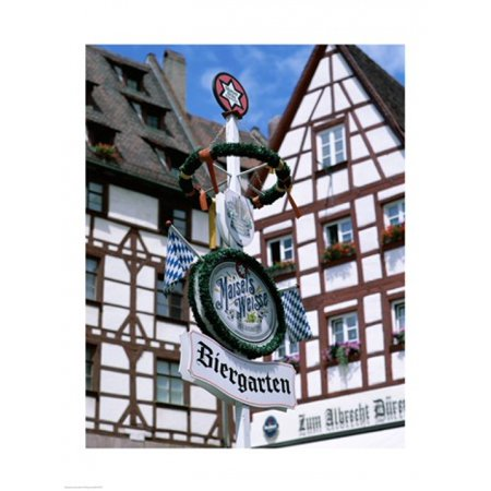 Beer Gardens Germany (Beer Garden Sign Franconia Bavaria Germany Canvas Art -  (18 x 24))
