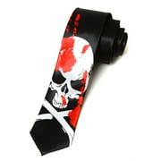 2' Trendy Skinny Tie  - Black with Bloody White Skull Crossbones 2 PACK ( 2 NECK TIES)
