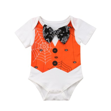 Short Sleeve Bow Tie - Toddler Baby Boys Halloween Outfit Short Sleeve Romper Bow Tie T-Shirt Top Bodysuit