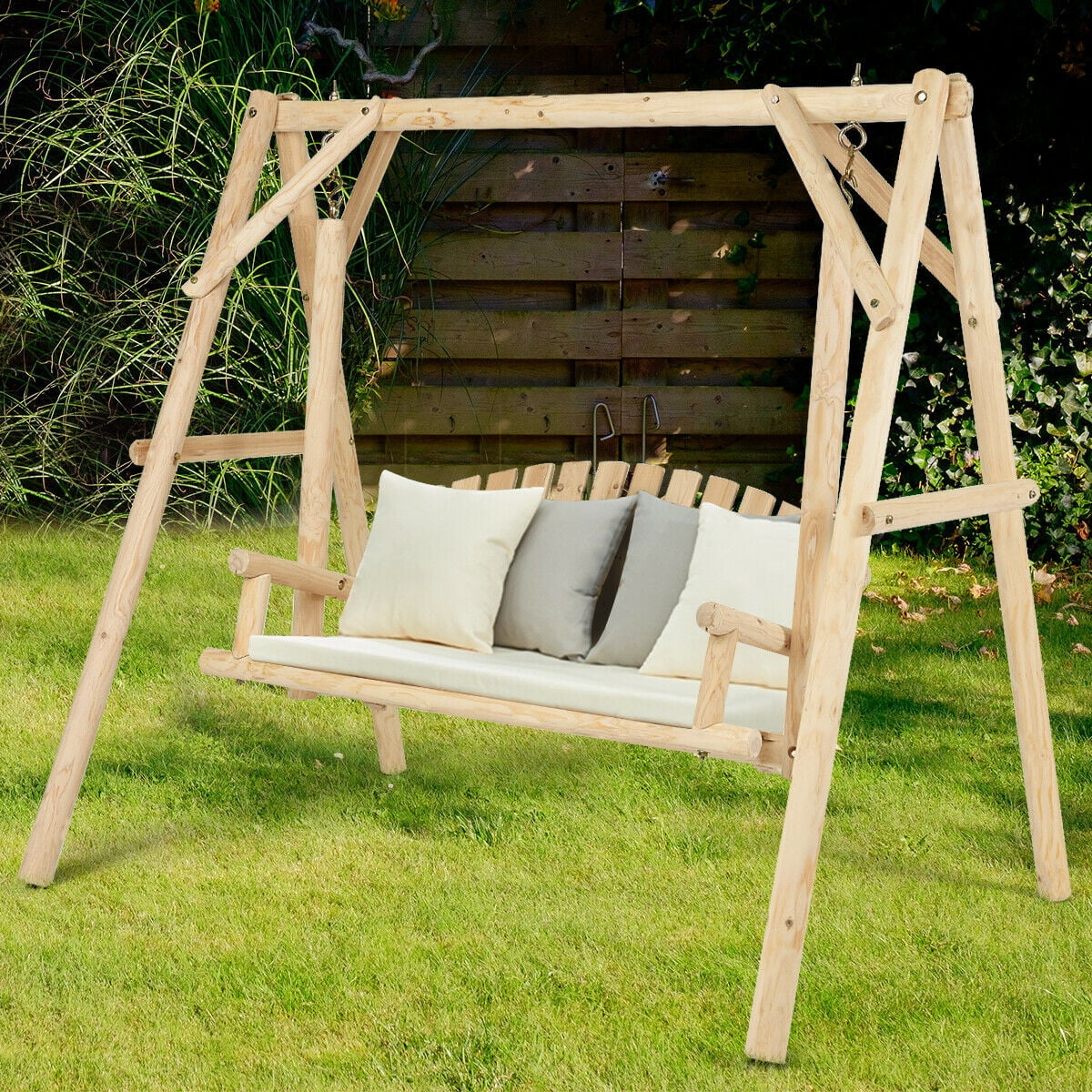 Rustic Wooden Porch Swing Bench With A, Outdoor Swing Bench With Stand