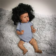 """Black Reborn Full Silicone Dolls,22""""Cute Reborn Baby Dolls,Look Real Life Baby Dolls with Clothes"""