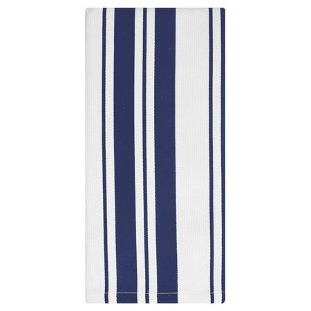 MU Kitchen Cotton Stripe Dishcloth, 13 by 13-Inches, Set of 2 (Ink Blue) Stripe Dish Cloth