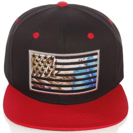 US Cities USA American Flag Print Flat Bill Adjustable Snapback Hat Cap - - Usc Hats