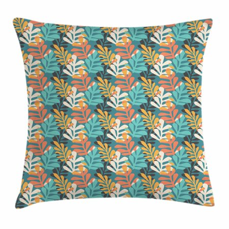 Contemporary Leaf Silhouette - Pastel Throw Pillow Cushion Cover, Hand Drawn Style Leaves with Colorful Silhouettes Contemporary Doodle Composition, Decorative Square Accent Pillow Case, 18 X 18 Inches, Multicolor, by Ambesonne