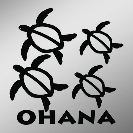 Ohana Hawaiian Sea Turtle Family With 2 Babies   6-Inches By 6-Inches   Black (Hawaiian Sea Turtles)