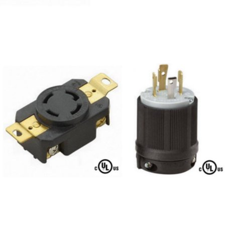 3 Pole Cable Connector (NEMA L14-30 Plug and Connector Set - Rated for 30A, 125/250V, 4-Wire, 3 Pole - cUL Listed )