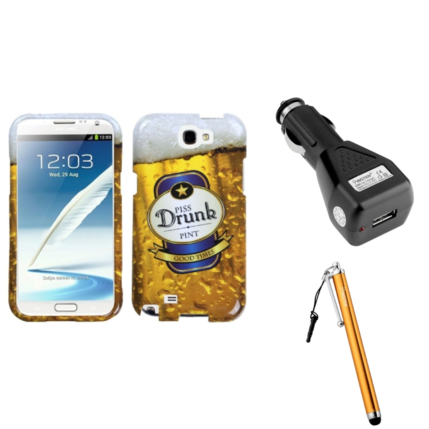 Insten Drunk Hard Case Car Charger Adapter Stylus For Samsung Galaxy Note 2 II