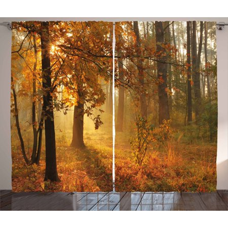 Dark Wood Window - Fall Curtains 2 Panels Set, Misty Autumnal Forest with Rising Sun Early Morning in Foggy Woods Scenery, Window Drapes for Living Room Bedroom, 108W X 63L Inches, Orange Brown Green, by Ambesonne