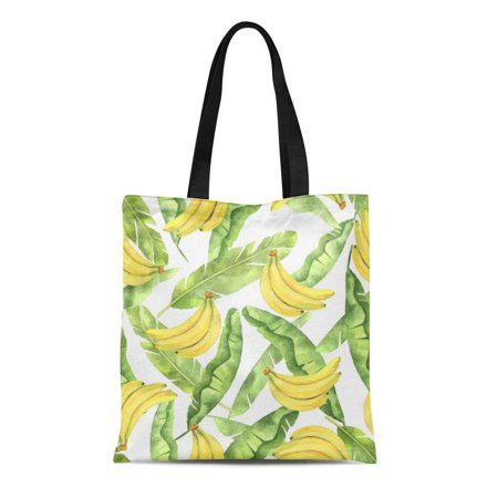 LADDKE Canvas Bag Resuable Tote Grocery Shopping Bags Watercolor with Tropical Green Leaves and Yellow Bananas White Hand Bio Food Tote Bag