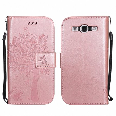 new concept 7517e eb9bd Galaxy S3 S III Case, Samsung Galaxy S3 Phone Cases, Allytech [Embossed Cat  & Tree] PU Leather Wallet Case Folio Flip Kickstand Cover with Card Slots  ...