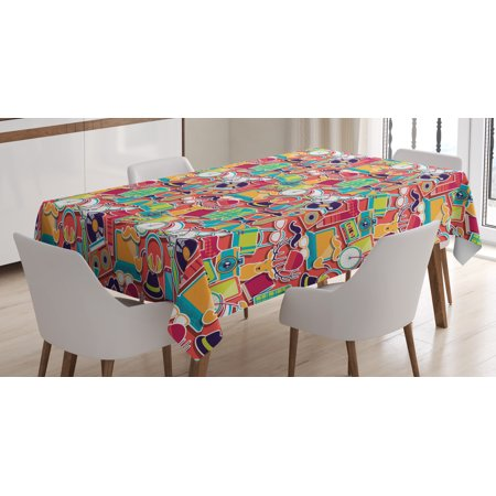 Indie Tablecloth  Colorful Hipster Design Elements Old Fashioned Culture Technology Urban Theme Funky  Rectangular Table Cover For Dining Room Kitchen  60 X 90 Inches  Multicolor  By Ambesonne