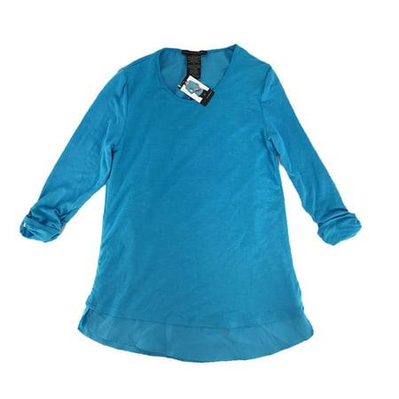 Element Top - Grace Elements Womens Size X-Large Split Back 3/4 Sleeve Top Blouse, Aqua Lagoon (Blue)