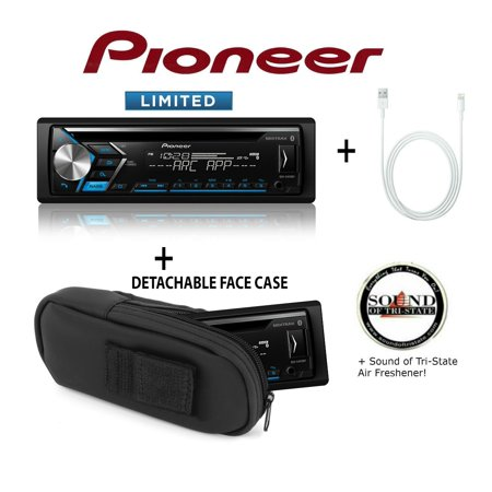 Pioneer DEH-S4010BT CD Receiver + Lightning to USB Cable + Scosche DFC1X padded case for detachable face + SOTS Air Freshener ()