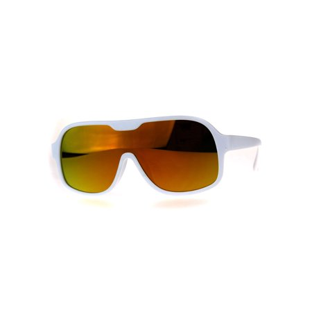 Orange County Shields (Color Mirror Futuristic Robotic Shield Plastic Racer Sunglasses White Orange)