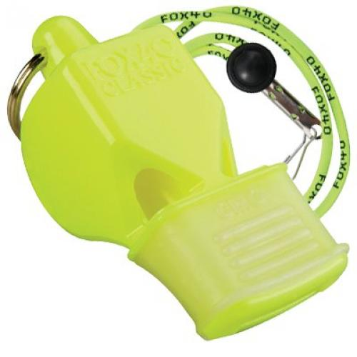 Fox 40 Classic Pealess Whistle with Lanyard Neon Green Coaches' & Referees' Gear Coaches' & Referees' Gear