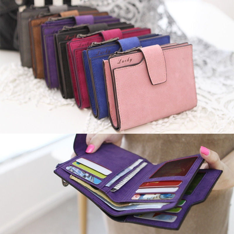 Fashion Women Wallet Credit Cards Holder PU Leather Short Wallets Coin Purses KV