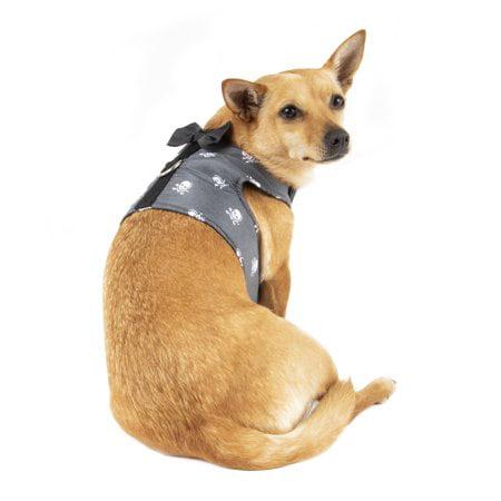- Simplydog Black Chambray Skulls Bow Tie Wrap Harness for Dogs, Medium