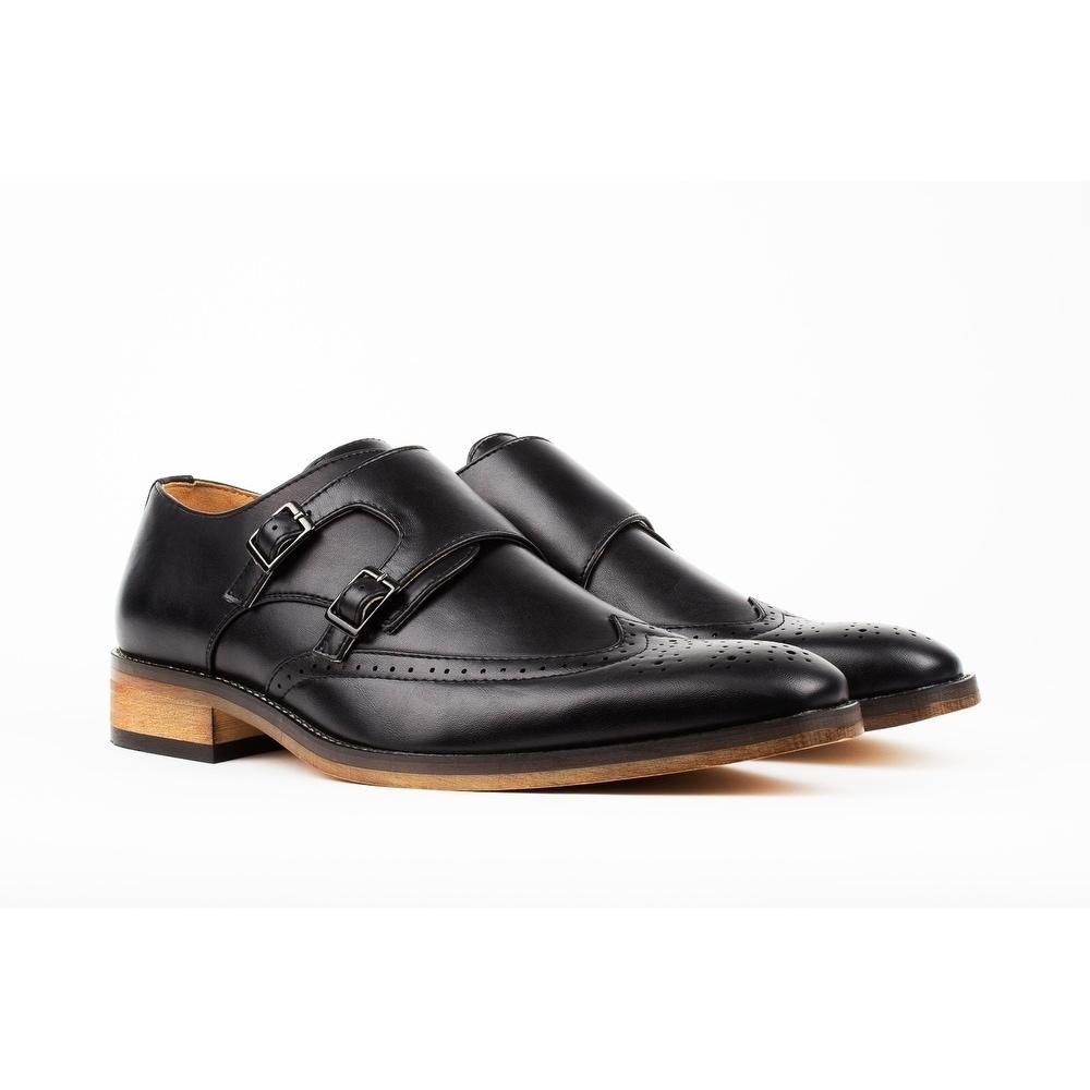 Daily Haute Gino Vitale Men's Monk Strap Brogue Dress Shoes